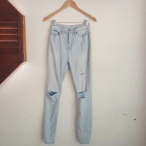 BDG Super High Rise Distressed Light Wash Jeans